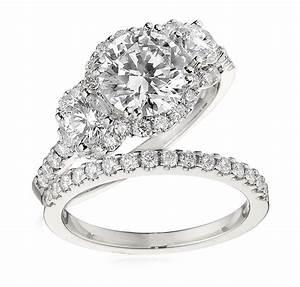 Gottlieb sons engagement ring set three stone halo for Three stone wedding ring set