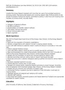 research assistant resume professional psychology research assistant templates to