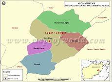 Logar Map, Map of Logar Province Velayat, Afghanistan
