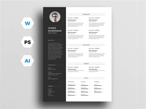 Free Photoshop Resume Templates by Free Resume Templates In Photoshop Psd Format