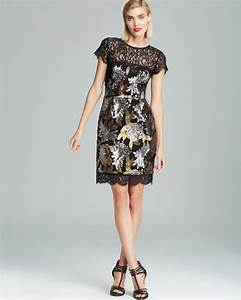 Miller Dress Size Chart Lyst Miller Lace Neckline Metallic Floral Sequin