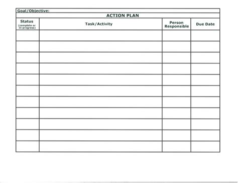 simple action plan template word  featuring table