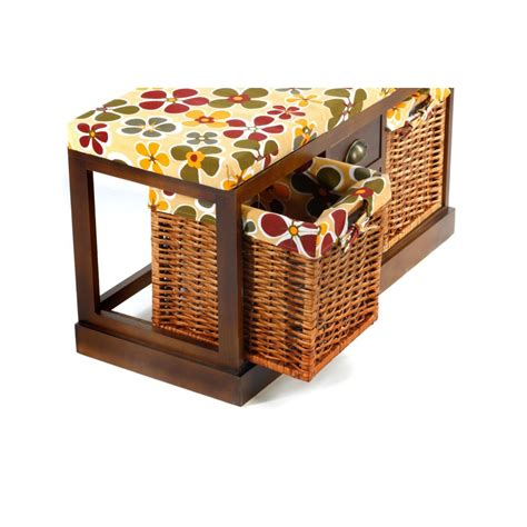 Bench Seat With Basket Storage by Taiga Wooden Storage Bench Seat 2 Wicker Baskets 3