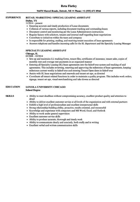 Sle Leasing Resume by Leasing Assistant Resume Sles Velvet