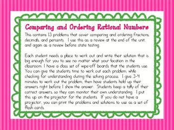 comparing  ordering rational numbers activity  anna