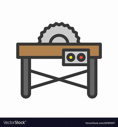 Saw Table Clipart Outline Carpenter Icon Filled