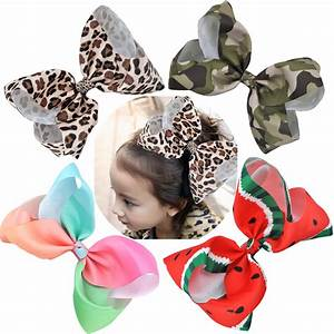 8 Inch Big Large Hair Bows Leopard Print Rainbow Grosgrain
