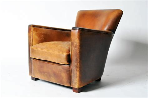 distressed leather club chair at 1stdibs