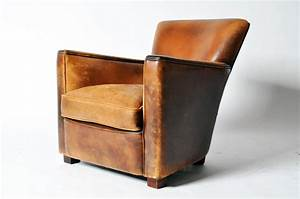 Petite Distressed Leather Club Chair at 1stdibs