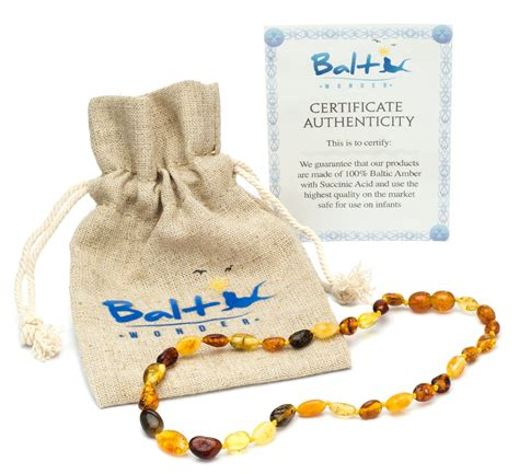 Amber Teething Necklace For Babies Unisex Anti