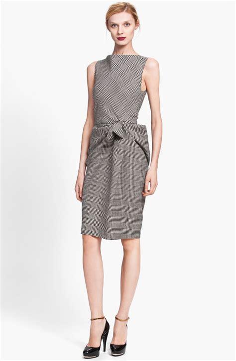 Side Drape Dress - lanvin side drape plaid dress in black black white lyst
