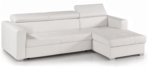 canap angle convertible blanc canapé d 39 angle convertible avec têtières simili cuir blanc