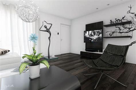 Black White Living Room Modern Art