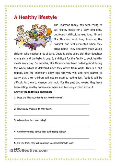 a healthy lifestyle worksheets reading