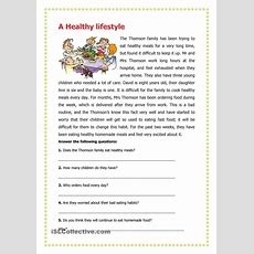 A Healthy Lifestyle  English Worksheets  English Reading, Reading Worksheets, Reading