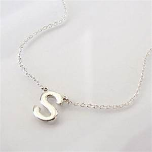 Dainty initial necklace ultra feminine sterling silver for Letter necklace silver
