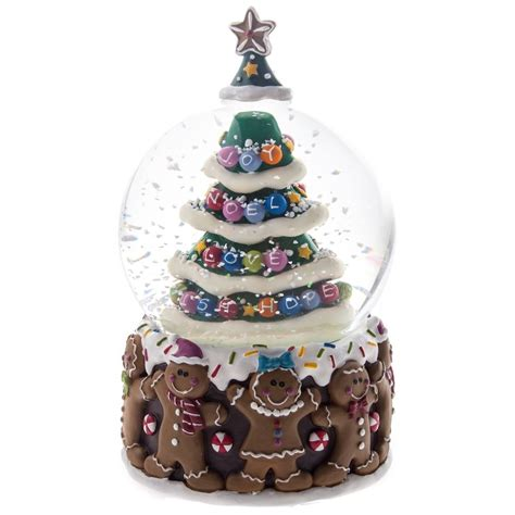 gingerbread man christmas tree musical snow globe by