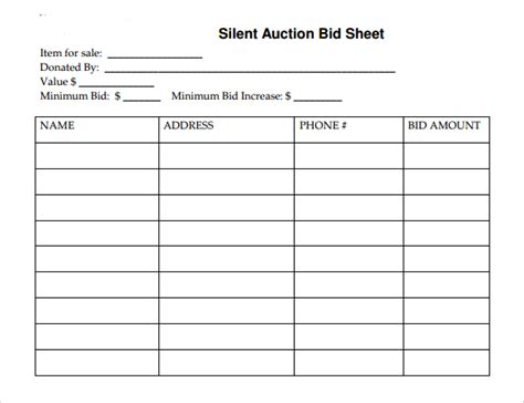 silent auction bid sheet template 19 sle silent auction bid sheet templates to sle templates