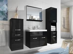 ensemble claudia meubles de salle de bain laque noir With meuble salle de bain noir laqué pas cher