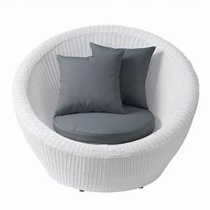 Fauteuil En Resine : fauteuil de jardin en r sine tress e blanc mykonos maisons du monde ~ Teatrodelosmanantiales.com Idées de Décoration