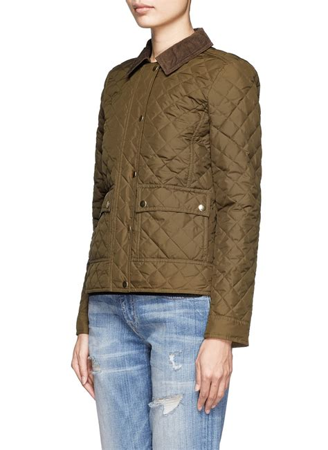 j crew quilted jacket j crew quilted tack jacket in green lyst