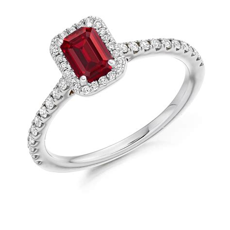 18ct white gold 0 50ct ruby cluster engagement ring