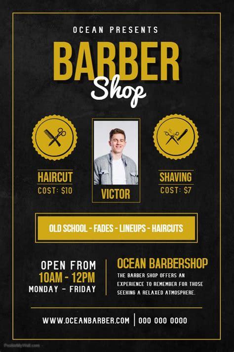 mens hair salon advertisement poster template hair