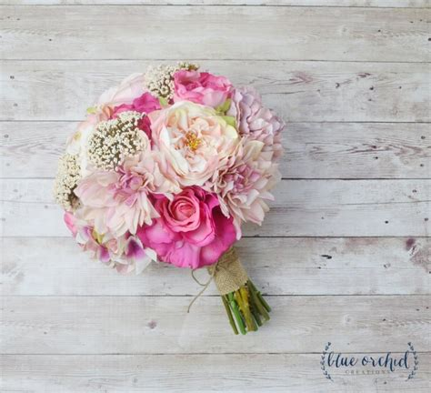 shabby chic wedding flower ideas pink wedding bouquet silk bouquet peony bouquet shabby chic bouquet rustic silk flowers