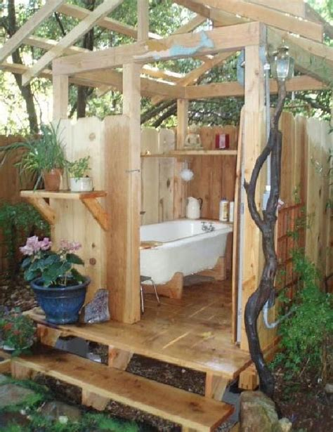 hand woodworking  shed outdoor bathtub outdoor