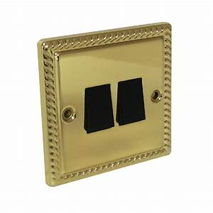 Georgian Brass Rope Double Light Switch 2 Gang 2 Way Electric Bright Brass
