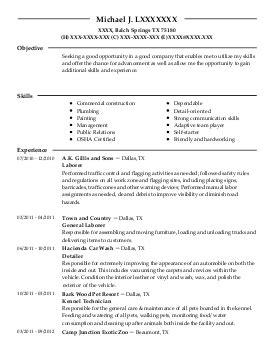 construction flagger resume