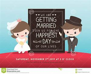 wedding invitation board with groom and bride cartoon With funny animated wedding invitations