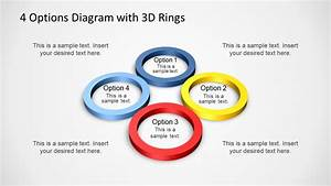 4 Options Diagram Template For Powerpoint With 3d Rings
