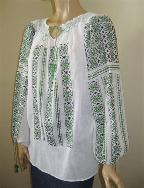 embroidered peasant blouse embroidered peasant blouse green flowers narcisus