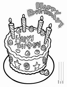 Happy Birthday Cake With Four Candles Coloring Page