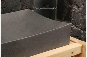 70x40 grande vasque salle de bain pierre basalte gris toji With salle de bain design avec vasque en basalte