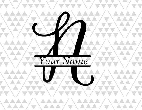 monogram letter  split letter  split letter svg split etsy
