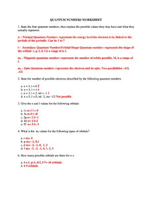 quantum numbers worksheet answers newatvs info