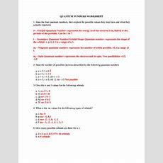 Quantum Numbers Worksheet Answers Newatvsinfo