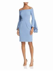 Aqua  228 Womens Light Blue Crepe Off Shoulder Bell Sleeve