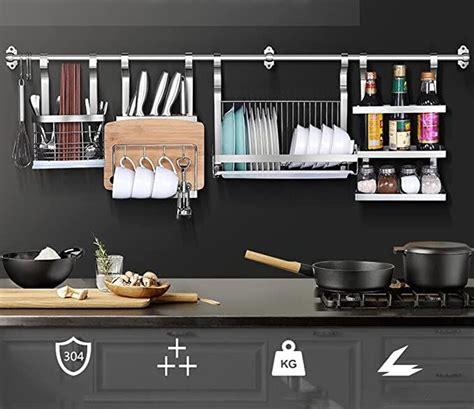 amazoncom  stainless steel kitchen shelves wall hanging turret  layer spice jars organiz
