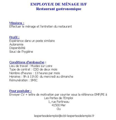recherche emploi menage bureau emploi muides sur loire