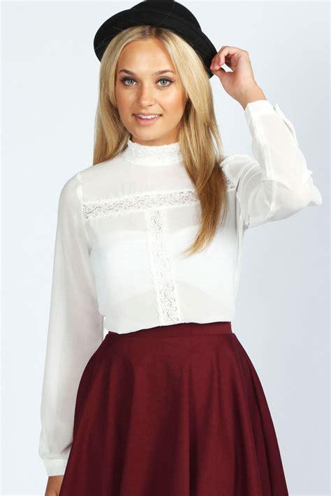 high neck blouse boohoo layla sleeve lace insert high neck blouse ebay