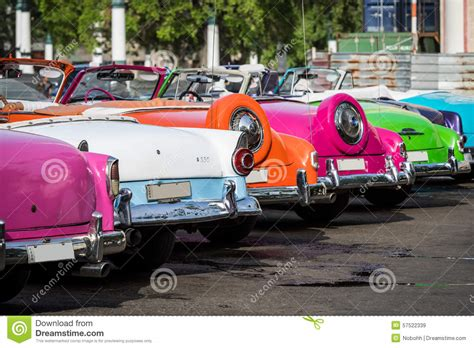 cuba  american colourful classic cars parked   city  havana stock photo image