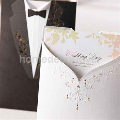 10 set paper bride groom wedding invitations tuxedo cards