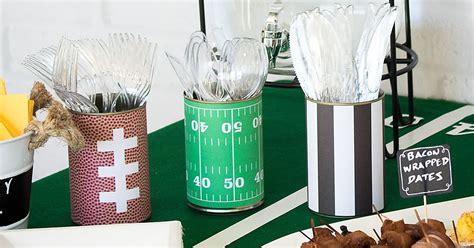 diy football party utensil holders