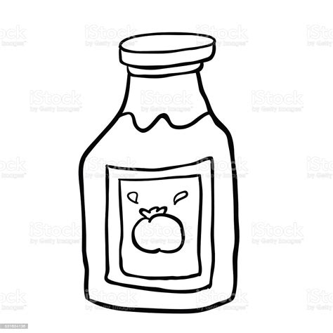 Black And White Freehand Drawn Cartoon Ketchup Stock ...