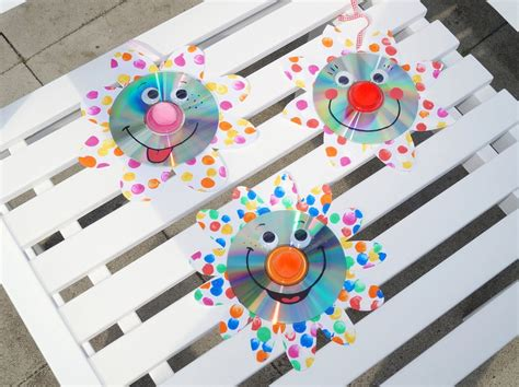 upcycling funkelnde cd blumen basteln mit kindern