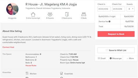 r house jogjakarta mencoba airbnb untuk pertama kalinya