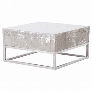 maximus concrete chrome distressed square block coffee With square block coffee table